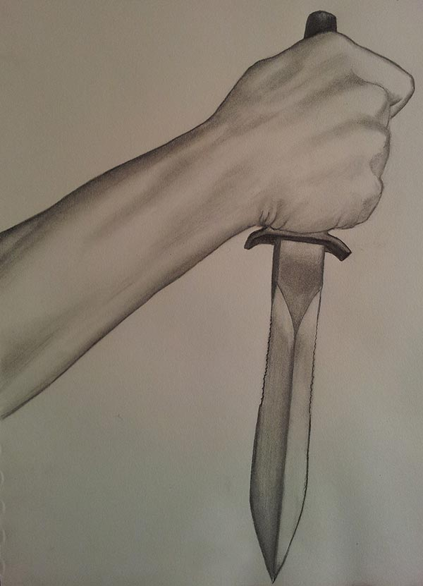 Drawing of a hand holding a knife